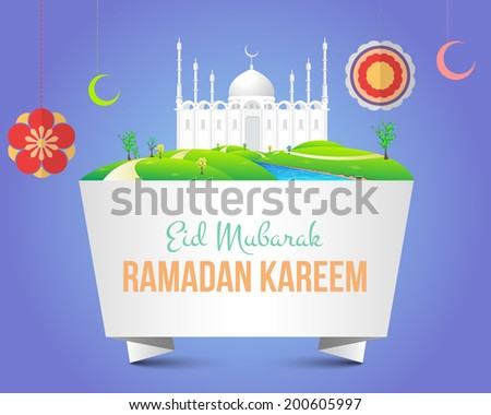 Ramadan Kareem Islamic Holy Nights Theme Design Arabic Eid Mubarak be Blessed at English