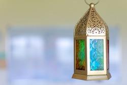 Ramadan Kareem Islamic Middle Eastern Latern with Copy Space. Selective focus.