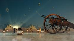 Ramadan kareem, lanterns, cannons shot, Festive greeting card, invitation for Muslim holy month Ramadan Kareem.