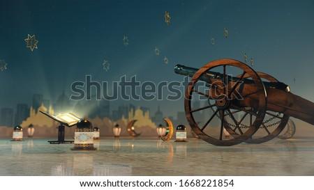 Ramadan kareem, lanterns, cannons shot, Festive greeting card, invitation for Muslim holy month Ramadan Kareem. Сток-фото ©