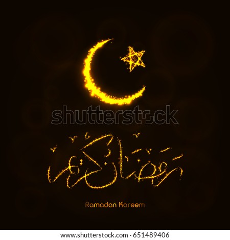 Ramadan Kareem Lights Silhouette on Dark Background. Glowing Lines and Points. Ramadan Kareem Arabic calligraphy. Celebration of Muslim community festival. #651489406
