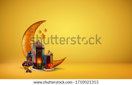 Ramadan kareem 2020 new background image, islamic concept golden and yellow color Ramadan and Eid al fitr 3d image, golden half moon with dates and lantern light lamp decoration new Eid al fitr image