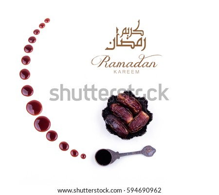 Ramadan Kareem. Ramadan background with dates and dates syrup poured in the shape of crescent moon.