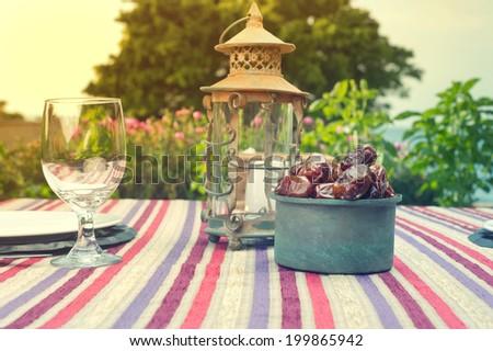 Ramadan Lamp and dates fruit still life