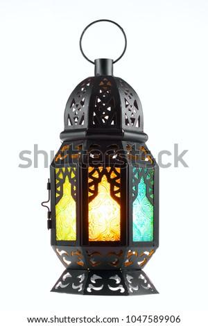 Ramadan lantern isolated. Arabic  decoration lamp on white background.