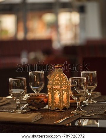 Ramadan lantern lamp on the table