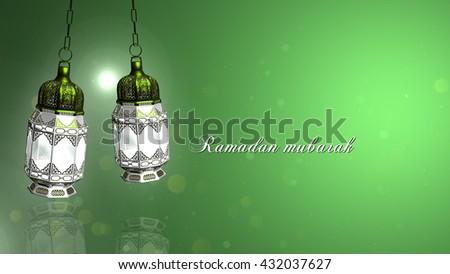 Ramadan Mubarak and Traditional Ramadan Lantern And Islamic Rosary | Light Colorful Green background | Ramadan in Egypt And The Light Of Ramadan. Its The Lantern A Ramadan Story