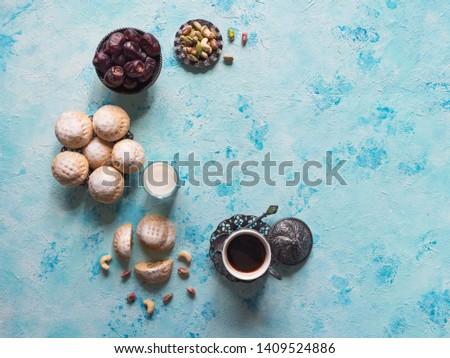 """Ramadan sweets background. Cookies of El Fitr Islamic Feast. Egyptian cookies """"Kahk El Eid""""  #1409524886"""