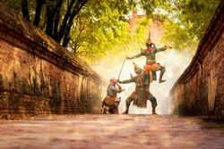 Ramayana story. Hanuman Rama and Ravana character. Khon is Traditional Thai drama dance perform at the old capital city of Thailand Ayuthaya.