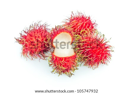 Rambutan fruit isolated on white background.