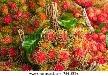 Rambutan or hairy fruit, popular fruit on summer of Thailand