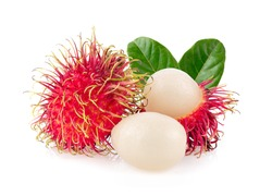 rambutan sweet delicious fruit with leaf  isolated on white background. full depth of field