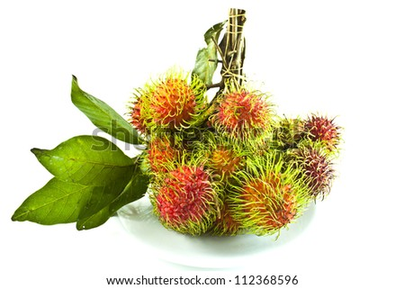 rambutan, tropical fruit on white background