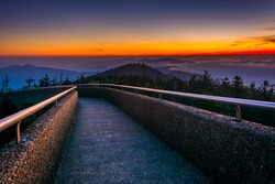 Ramp to the  Clingman's Dome Observation Tower at sunset, in Great Smoky Mountains National Park, Tennessee.
