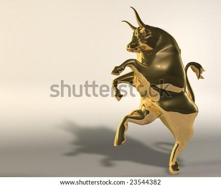 Rampant golden bull on neutral background