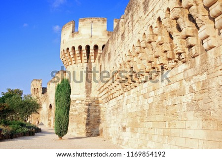 Ramparts of the city of Avignon in Provence, France - Shutterstock ID 1169854192
