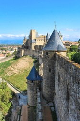 Ramparts of the City of Carcassonne, in France
