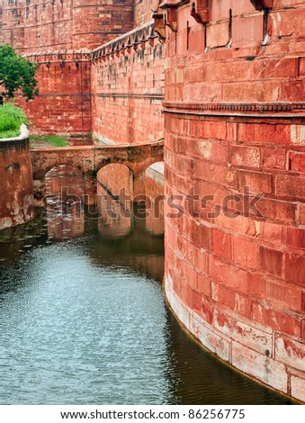 Ramparts of the Red Fort in Agra, India - stock photo