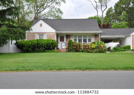 Ranch Suburban Home Front Yard Street Residential Neighborhood - stock photo