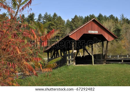 Randall Covered Bridge, Lydon, VT with Autumn Sumac in Foreground Horizontal