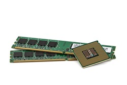 Random access memory and central processing unit of modern computer, RAM and CPU PC,  isolated on white background