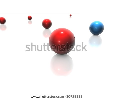 random balls in blue and red