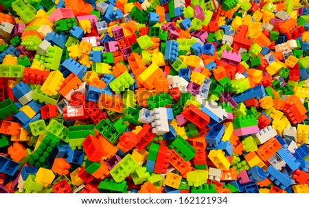 random coloured plastic construction blocks