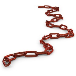 Random Curly Length of red stainless steel chain links on a white background