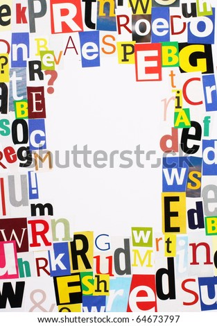 Random magazine letters cut out and arranged in a border around a white space for text