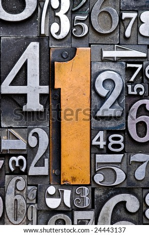 Random number background with number one in the center.
