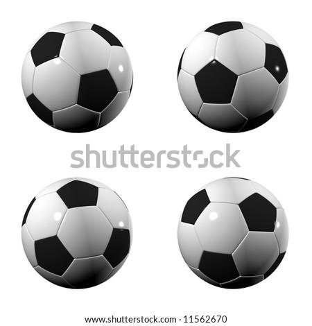 Randomly rotated isolated soccer balls over white