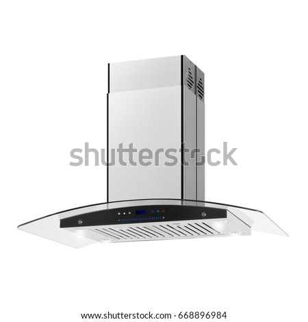 Range Hood Isolated on White Background. Side View of Stainless Steel Cooker Hood. Kitchen Wall Mount Range Hood with Tempered Glass and Touch Control. Cooking Hoods. Chimney Hood. Kitchen Appliances