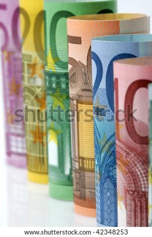 Range of Euro bank notes rolls