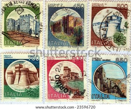 Range of Italian castles postage stamps (still in Liras)