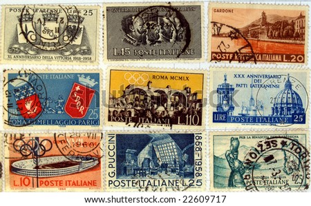 Range of Italian postage stamps