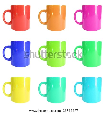Range of mugs or cups isolated over white background - stock photo