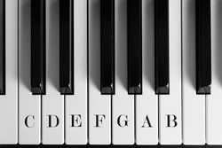 range of piano keys of one octave with its names