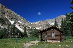 Ranger cabin at Thunder Lake hiking trail in Rocky Mountain National Park Colorado