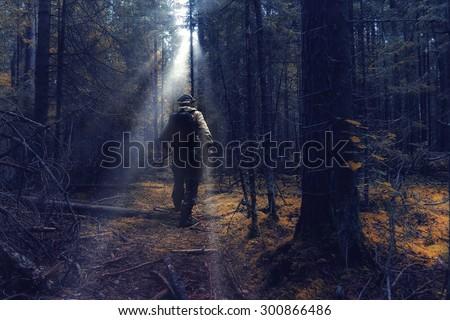 ranger in autumn forest forester guide Stockfoto ©