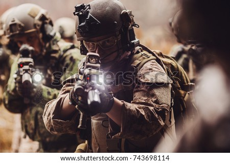 rangers during the military operation. anti terrorism military concept.