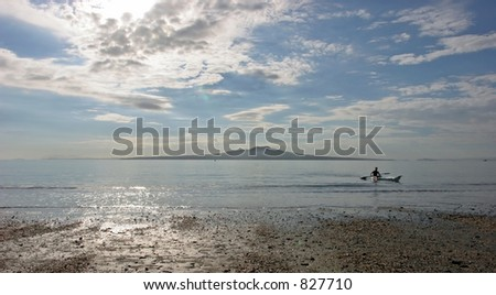 Rangitoto Island from Takapuna Beach with Canoeist