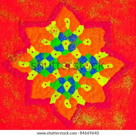 Rangoli or Colorful Floral Patterned Design Using Colored Powder for the Hindu Diwali Festival