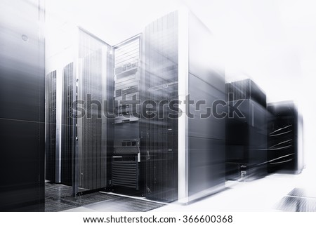 ranks modern supercomputers in computational data center with motion black and white