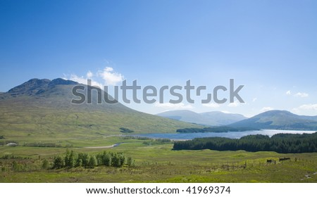 Rannoch Moor, National Heritage site. Late spring, bright sunny day