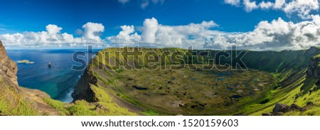 Rano kau volcanic crater gigapan panorama from the other side with Tangata matu islets, Easter Island Zdjęcia stock ©
