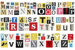 Ransom note alphabet Paper cut letters M-Z. Old newspaper magazine cutouts