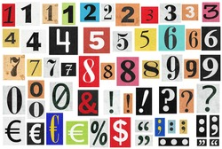 Ransom notes. Paper cut numbers and letters. Old newspaper magazine cutouts