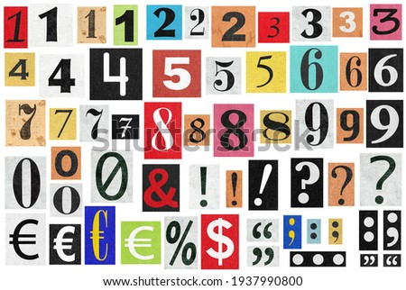 Ransom notes. Paper cut numbers and letters. Old newspaper magazine cutouts Foto stock ©