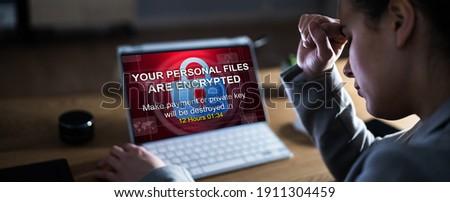 Ransomware Malware Breach. Hacked Computer. Ransom Attack Foto stock ©