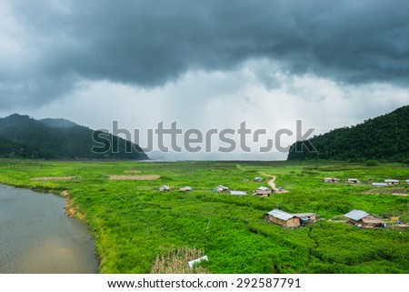 Rantee river lake village cultivate wayside straight mountain raining storm nature sprints motion
